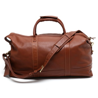 Coach Travel Collection British Tan Leather Weekender Duffel Bag