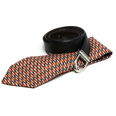 Hermés Silk Patterned 403 EA Necktie with Montblanc Brown Leather Belt