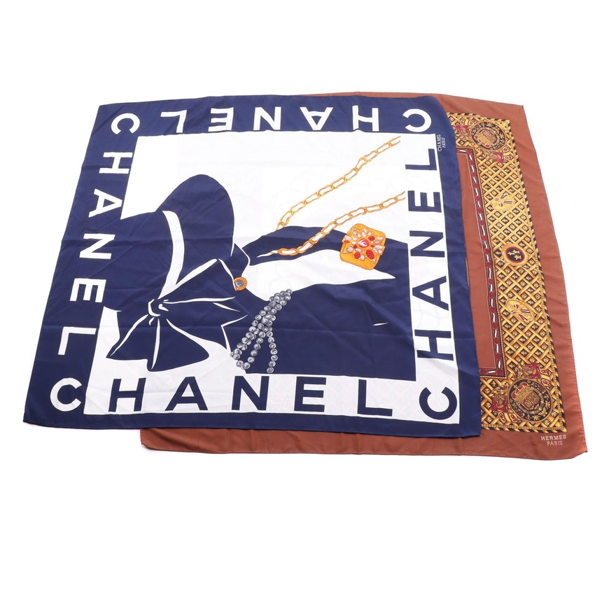 Hermès 1995 Collection and Chanel Silk Scarves