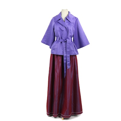 Victor Costa Occasion Skirt with Silk Jacket and Tie Sash