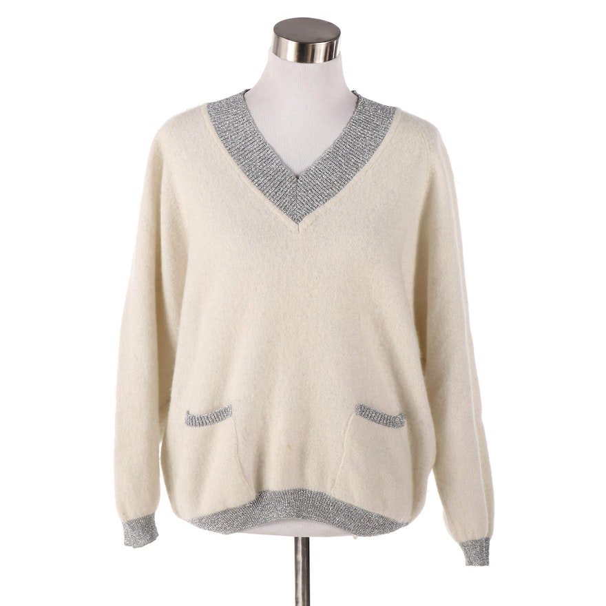 Women's Federico Vantero Wool Angora Blend Sweater with Lurex Trim, Italy
