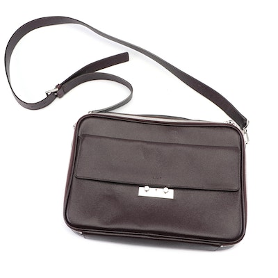 Bally Switzerland Textured Leather Briefcase Laptop Bag with Shoulder Strap
