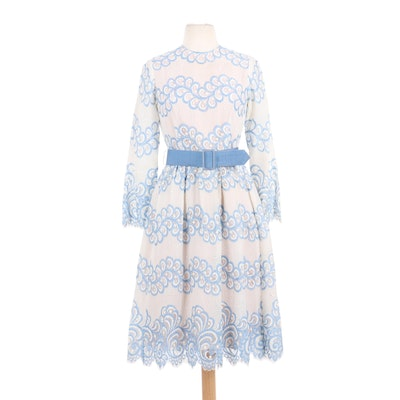 Claudia by George Halley Lace Cocktail Dress with Belt, 1960s Vintage