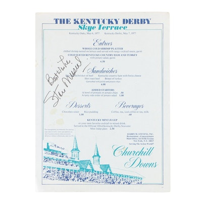 Stan Musial Autographed 1977 Kentucky Derby Sky Terrace Menu