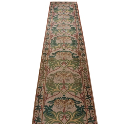 Machine Made Indo-Persian Art Deco Style Wool Carpet or Stair Runner