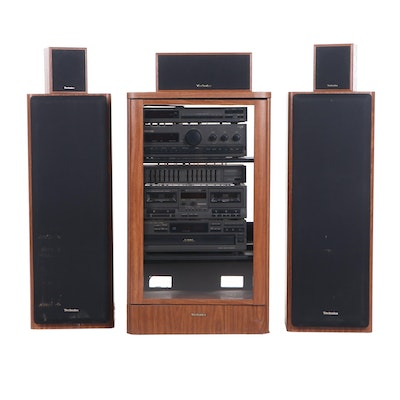 Technics Stereo and Speaker System with Cherry Cabinet and Housing