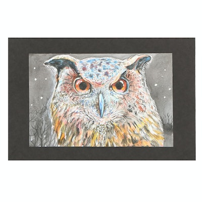 Watercolor Painting of Owl