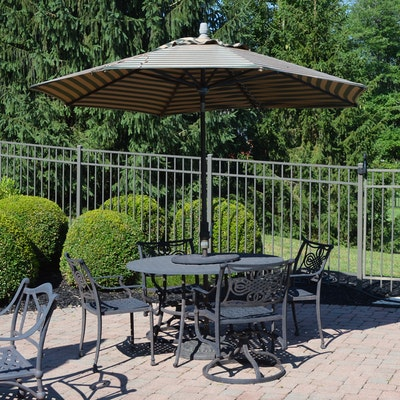 Cast Aluminum Round Patio Table and Umbrella, Contemporary