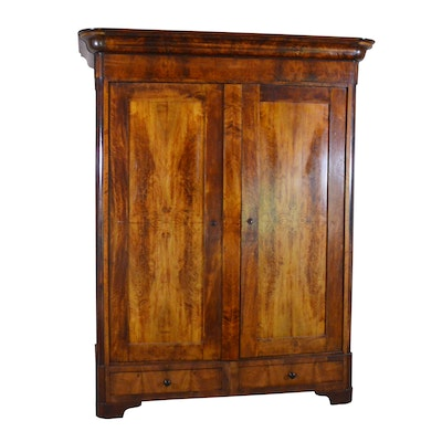French Louis Philippe Style Solid Mahogany Media Cabinet, Late 19th Century