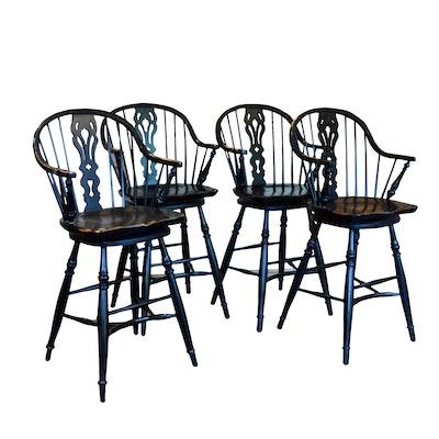Four Bassett Furniture Windsor Style Ebonized Swiveling Bar Stools