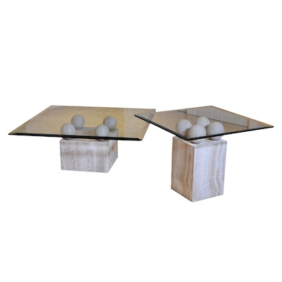 Beveled Glass and Travertine Coffee Table and End Table, Contemporary