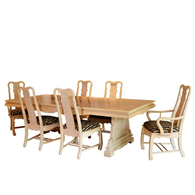 Chinoiserie Beech Finish Dining Table and Chairs, Late 20th Century