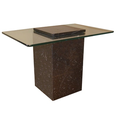 Modernist Style Black Marble and Glass Top Side Table