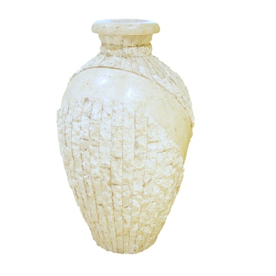 Magnussen Rough Cut and Polished Fossil Floor Vase, Contemporary