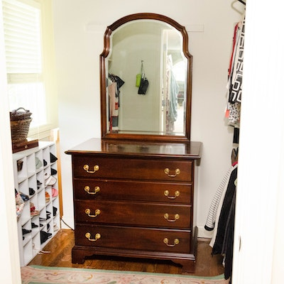Federal Style Four-Drawer Mahogany Chest with Mirror, Late 20th Century