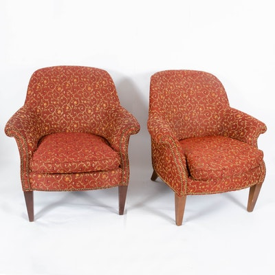 Pairing of Upholstered Armchairs with Brass Tack Details, Contemporary