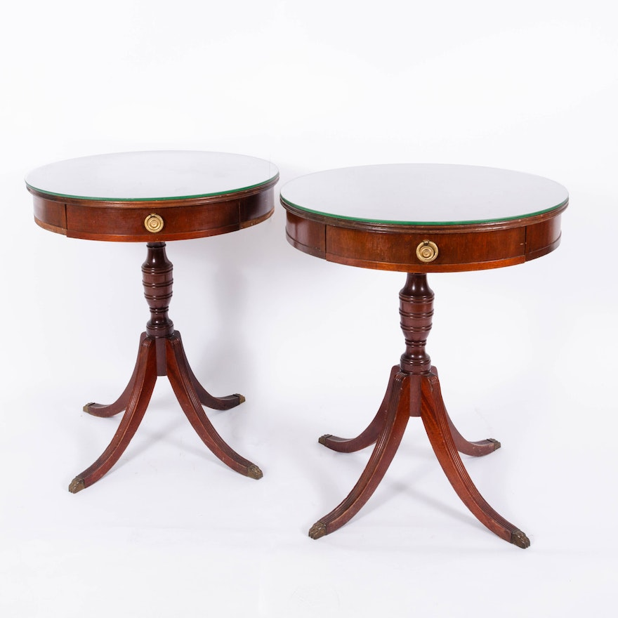 Duncan Phyfe Style Mahogany End Tables, Early 20th Century