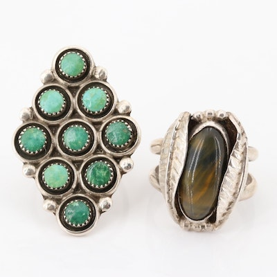 Sterling Silver Turquoise and Tiger's Eye Rings
