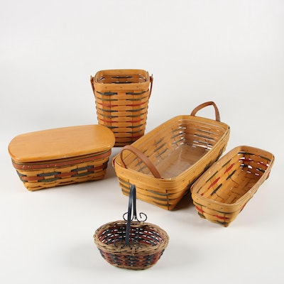 Longaberger Handwoven Baskets with Liners, 1990's