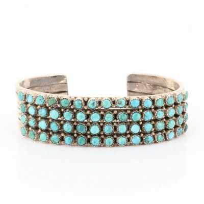 Sterling Silver Stamped Turquoise Cuff Bracelet