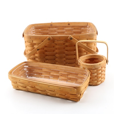 Longaberger Handwoven Maple Baskets, 1990's