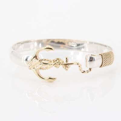 14K Yellow Gold and Sterling Silver Bracelet