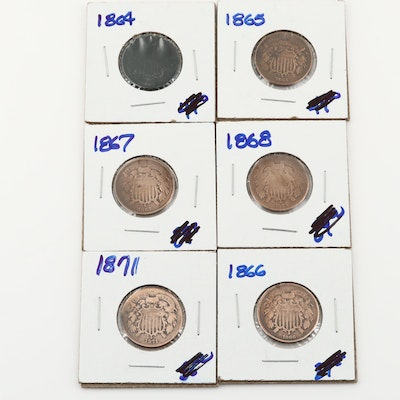 Six U.S. Two Cent Coins Including 1864, 1866, and 1871