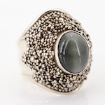 Sterling Silver 4.50 CT Cats Eye Actinolite Ring