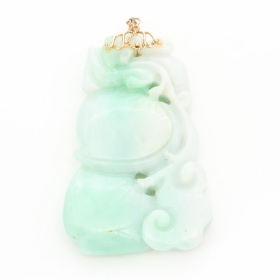 Chinese 14K Yellow Gold Jadeite Carved Pendant