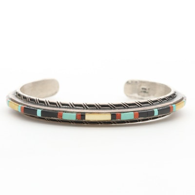 Southwestern Style Sterling Mother of Pearl, Turquoise and Coral Cuff Bracelet