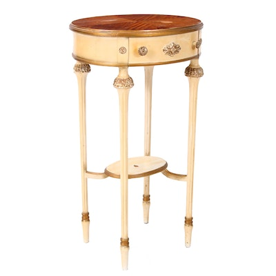 Luce Furniture Louis XVI Style Cream-Painted and Satinwood Side Table