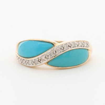 14K Yellow Gold Diamond and Composite Turquoise Ring