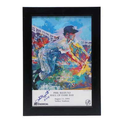 "Phil Rizzuto Signed ""Hall of Fame Day"" Framed Poster"