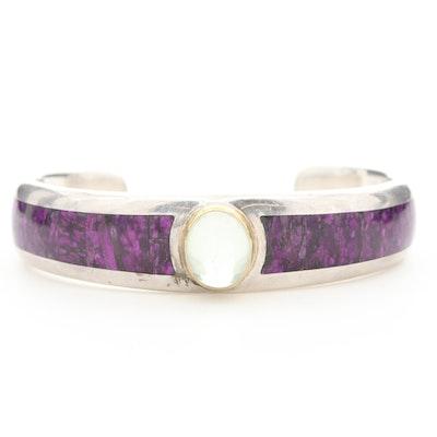 Sterling Silver Prasiolite and Sugilite Cuff Bracelet