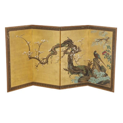 Chinese Hand-Painted Gilt Small Folding Screen