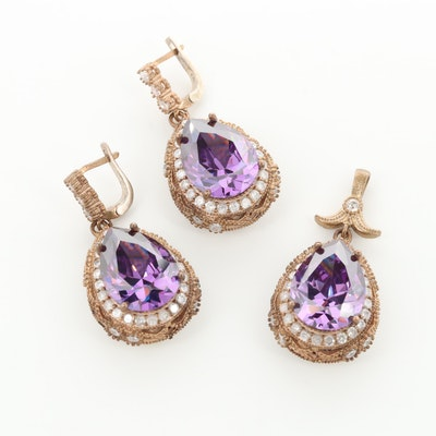 Gold Wash on Sterling Silver Cubic Zirconia Earrings and Pendant Set