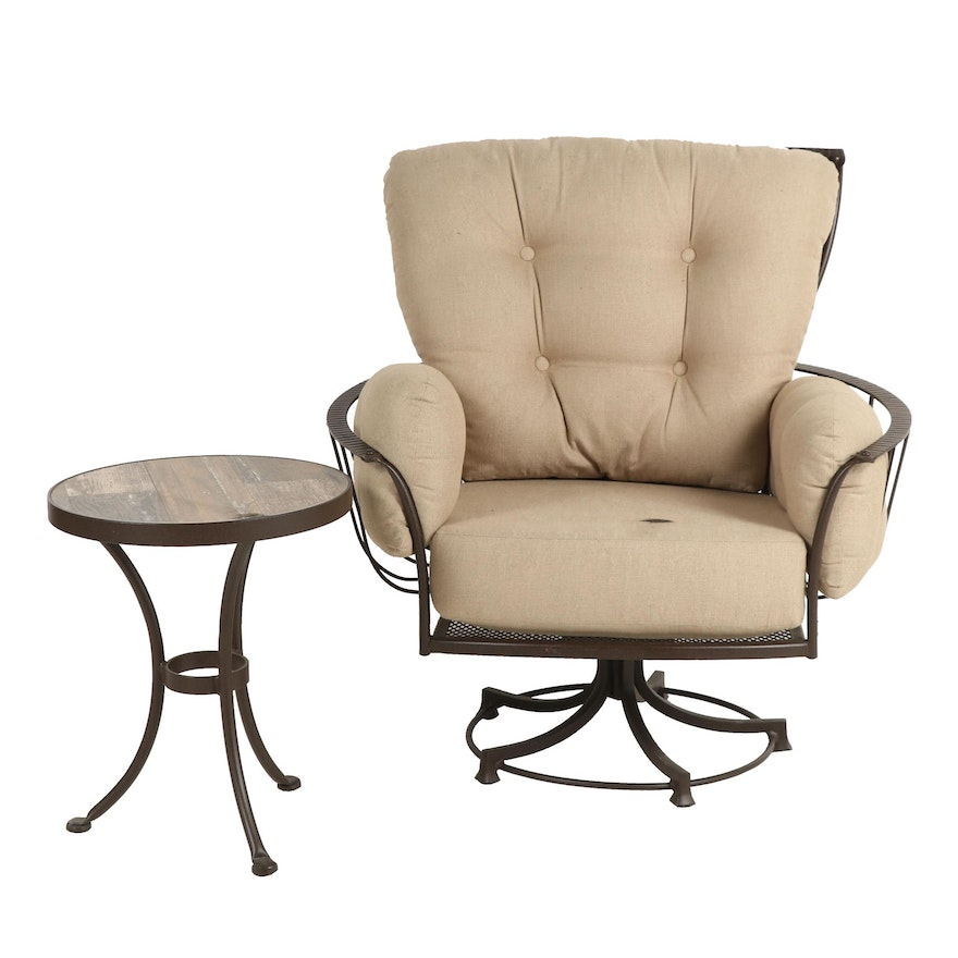 Astonishing Ow Lee Monterra Swivel Patio Chair With Side Table Andrewgaddart Wooden Chair Designs For Living Room Andrewgaddartcom