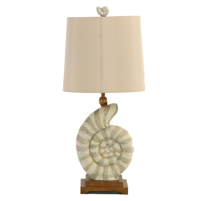 Cast Resin Ammonite Form Table Lamp, Contemporary