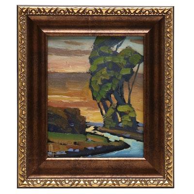 William Hawkins Landscape Oil Painting of River Scene