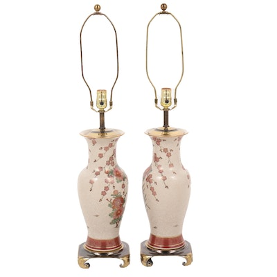 Pair of Chinese Famille Rose Lamps with Peacocks