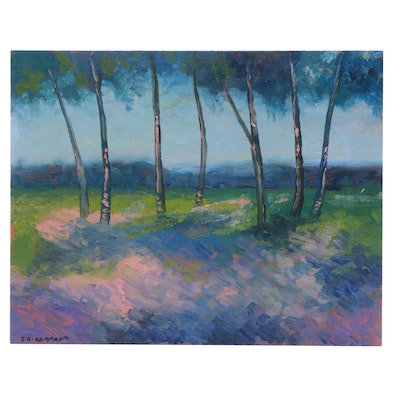 Sulmaz Radvand Acrylic Painting of Landscape with Trees