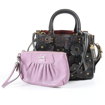 Coach 1941 Rogue 25 Satchel with Tea Roses and Coach Madison Wristlet