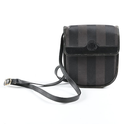 Fendi Crossbody in Zucca Stripe Coated Canvas with Black Leather,  Vintage