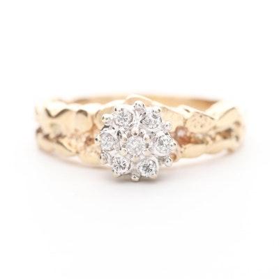 10K Yellow Gold Diamond Gold Nugget Design Ring