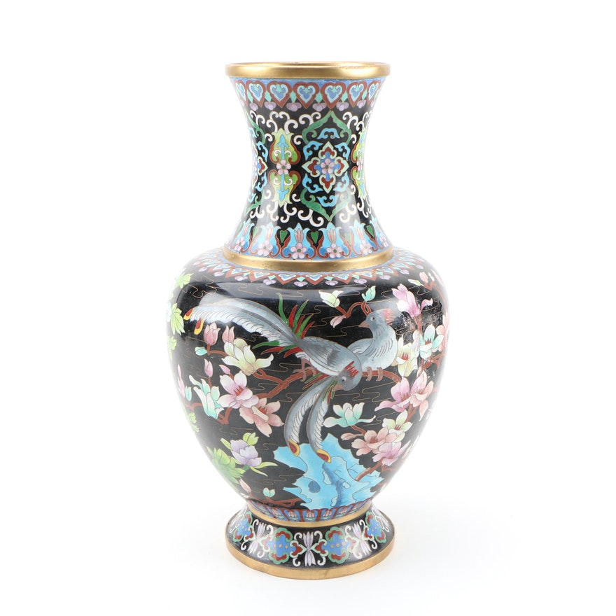 Chinese Cloisonné Plum Blossom and Butterfly Motif Vase