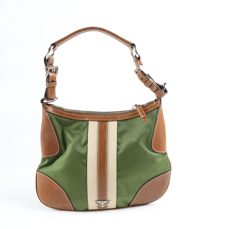 Prada Stripe Hobo Bag in Army Green Nylon with Sughero Stripe and Tan Leather