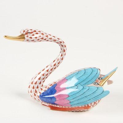 """Herend Red Fishnet """"Japanese Goose"""" Porcelain Figurine"""