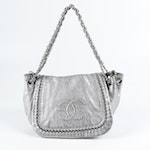 Chanel Silver Metallic Caviar Leather and Chain Shoulder Bag