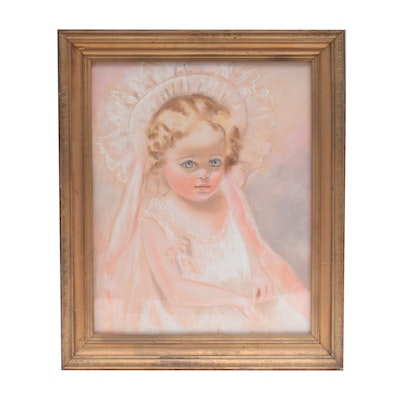 J. Hamilton Haines Pastel Drawing of Young Girl