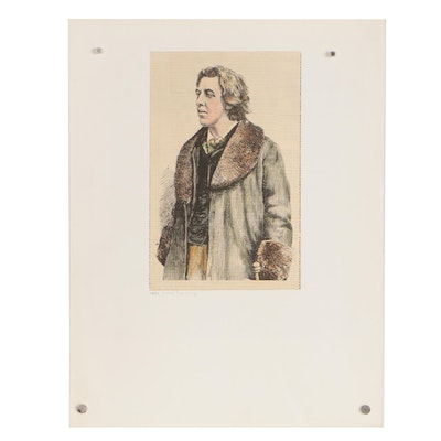 "1881 Wood Engraving of Oscar Wilde for ""McGee's Illustrated Weekly"""